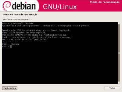 Linux: instalação ou  Recuperação do GRUB