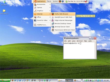 how to run ubuntu from usb on windows xp